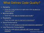 what defines code quality