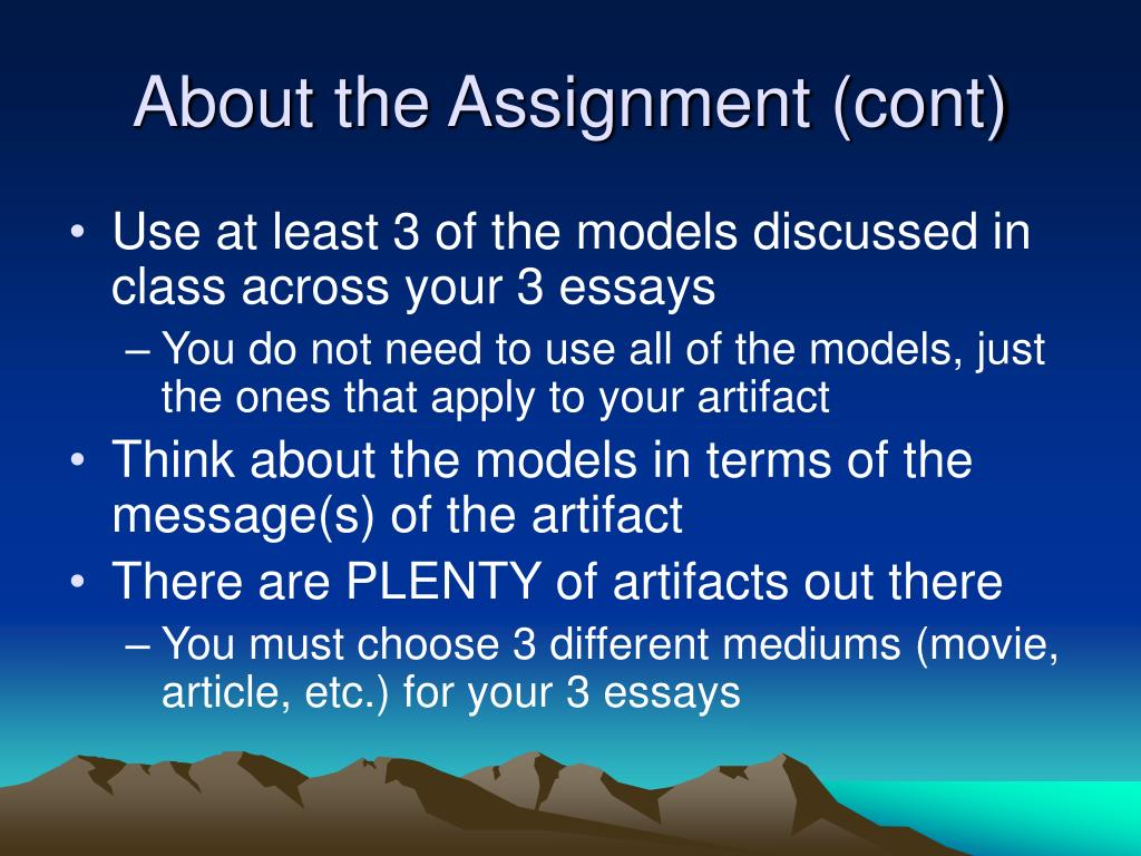 About the Assignment (cont)