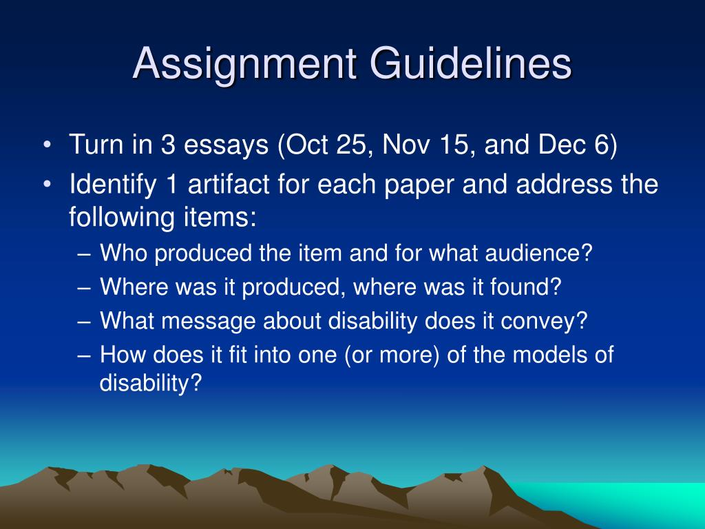 Assignment Guidelines
