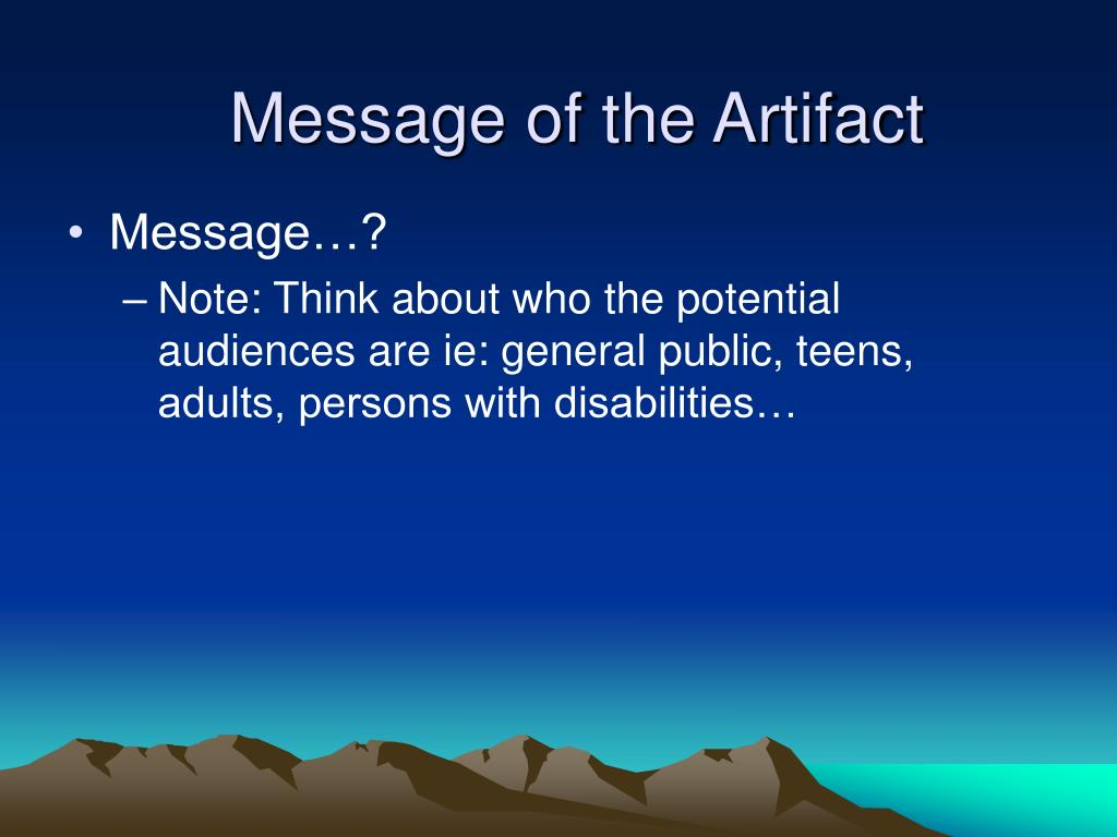 Message of the Artifact