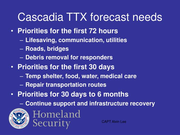 Cascadia TTX forecast needs