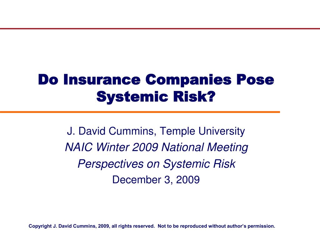 do insurance companies pose systemic risk l.