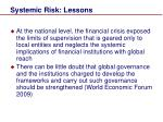 systemic risk lessons