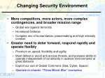 changing security environment