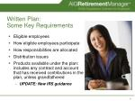 written plan some key requirements