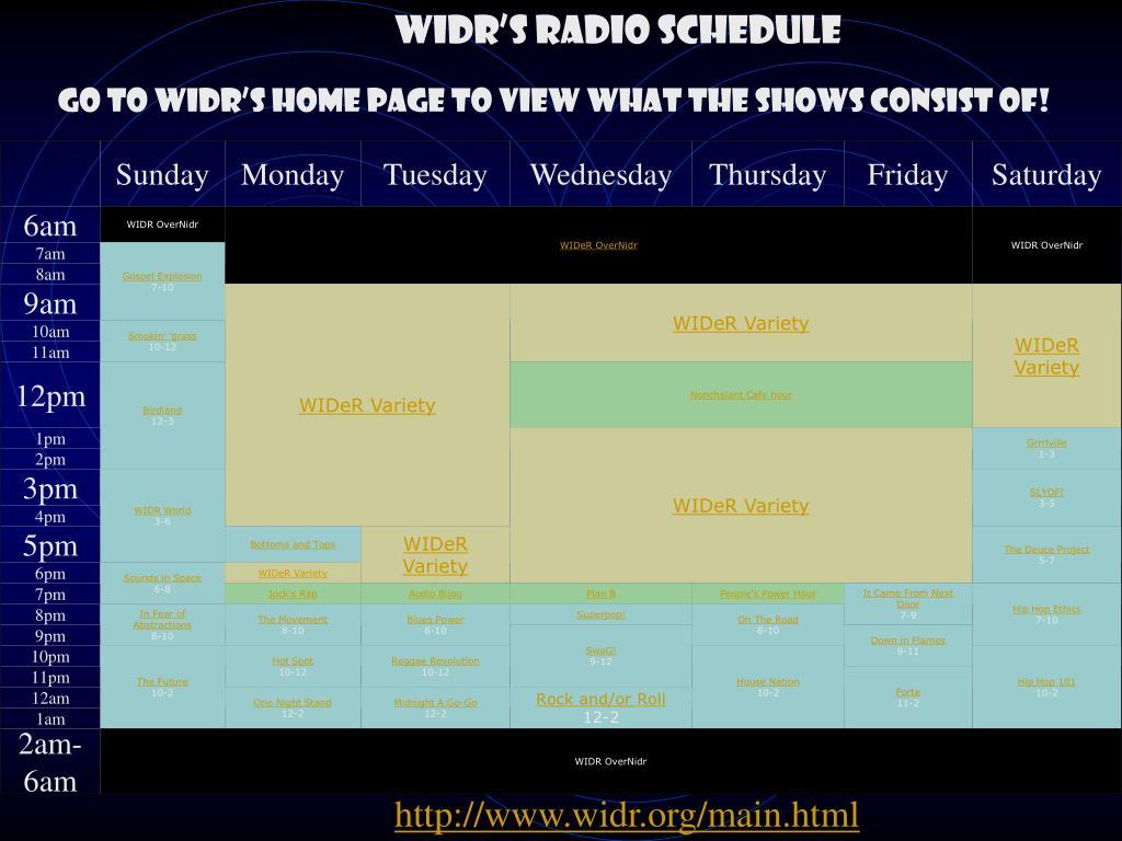 WIDR'S RADIO SCHEDULE