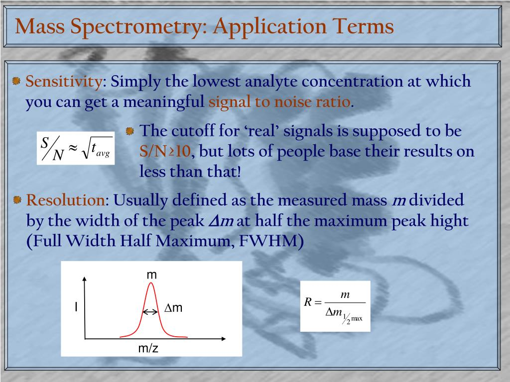 Mass Spectrometry: Application Terms