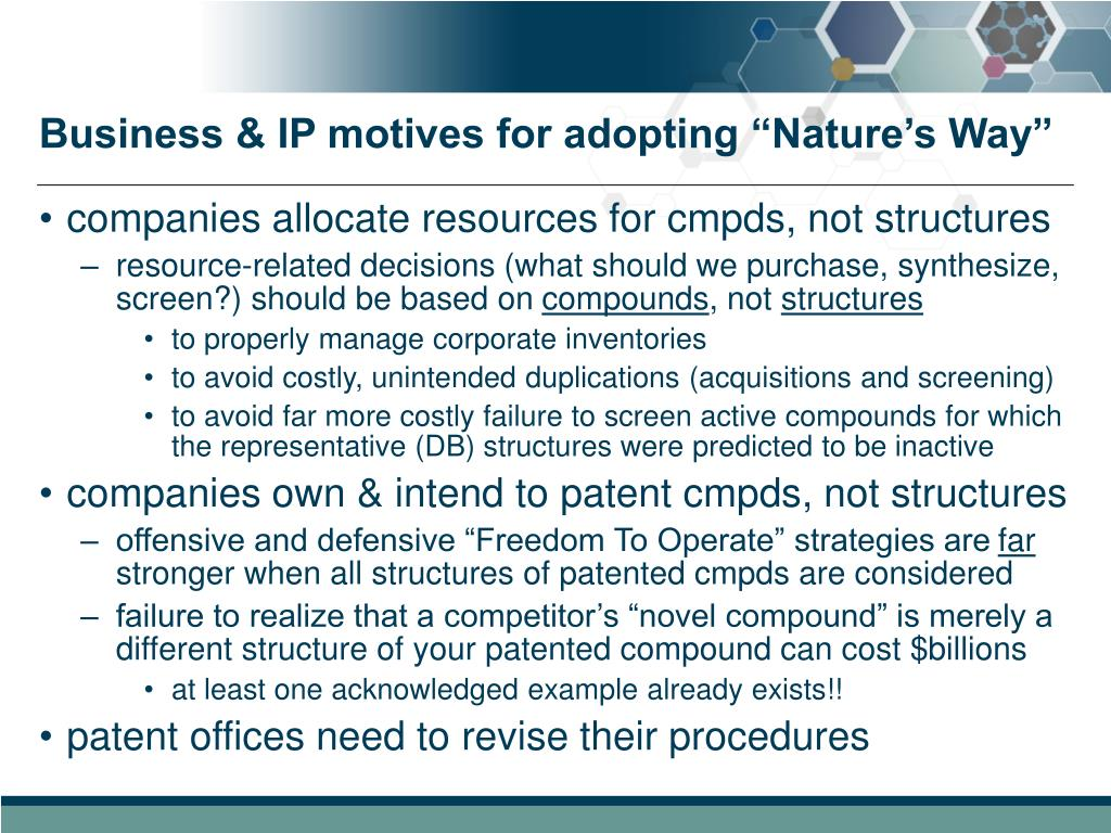 "Business & IP motives for adopting ""Nature's Way"""