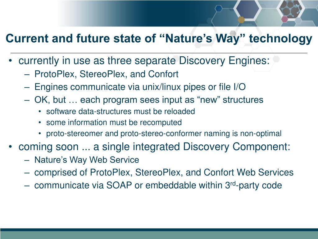"Current and future state of ""Nature's Way"" technology"