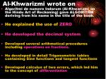 al khwarizmi wrote on