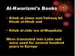 al kwarizmi s books