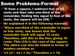 some problems formal