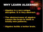 why learn algebra1