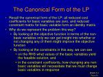 the canonical form of the lp