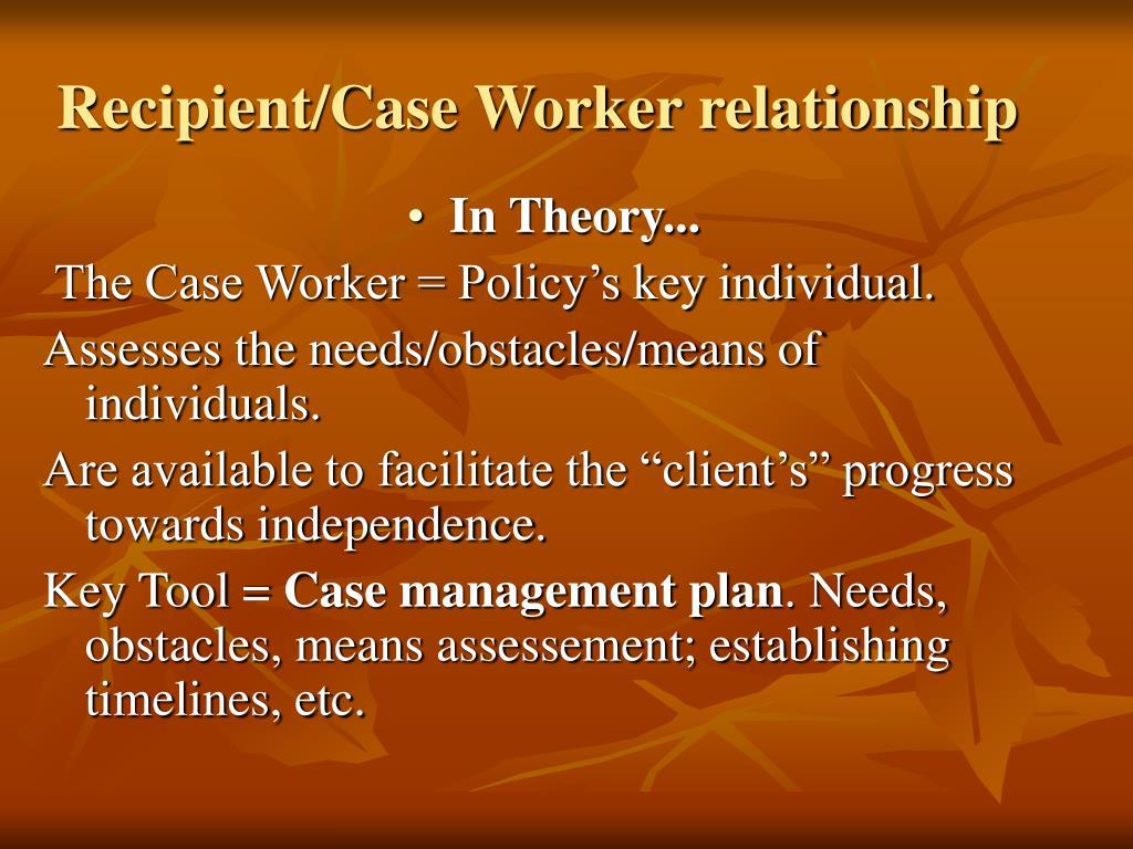 Recipient/Case Worker relationship