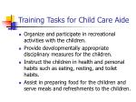 training tasks for child care aide