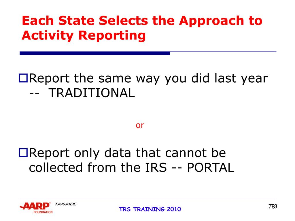 Each State Selects the Approach to Activity Reporting