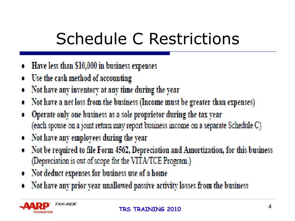 Schedule C Restrictions