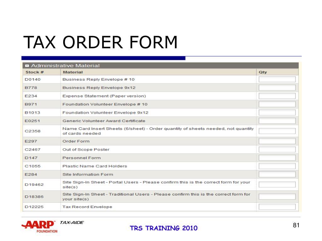 TAX ORDER FORM