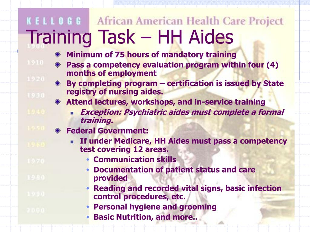 Training Task – HH Aides