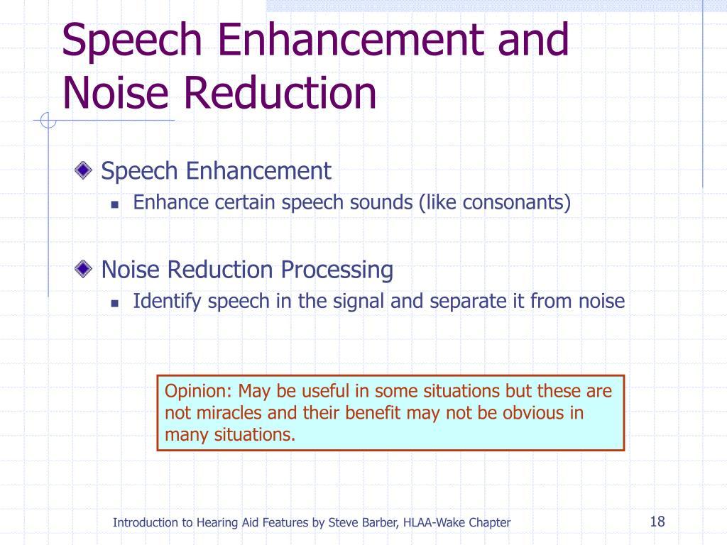 Speech Enhancement and Noise Reduction