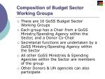 composition of budget sector working groups