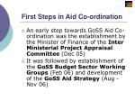 first steps in aid co ordination