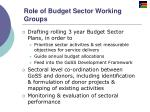 role of budget sector working groups