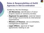 roles responsibilities of goss agencies in aid co ordination