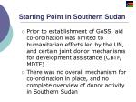 starting point in southern sudan