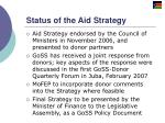 status of the aid strategy