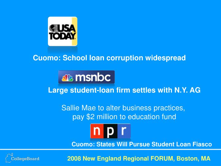 Cuomo: School loan corruption widespread
