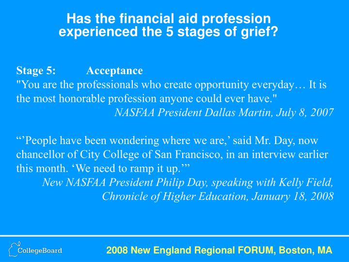 Has the financial aid profession experienced the 5 stages of grief?
