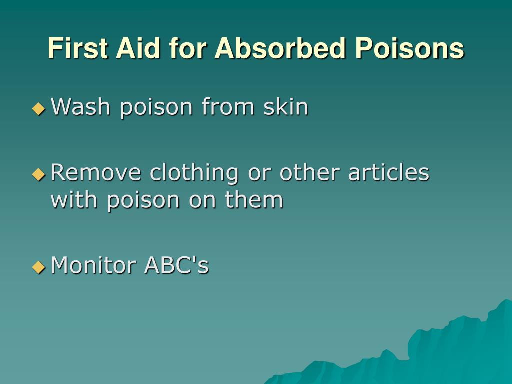 First Aid for Absorbed Poisons