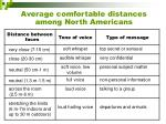 average comfortable distances among north americans