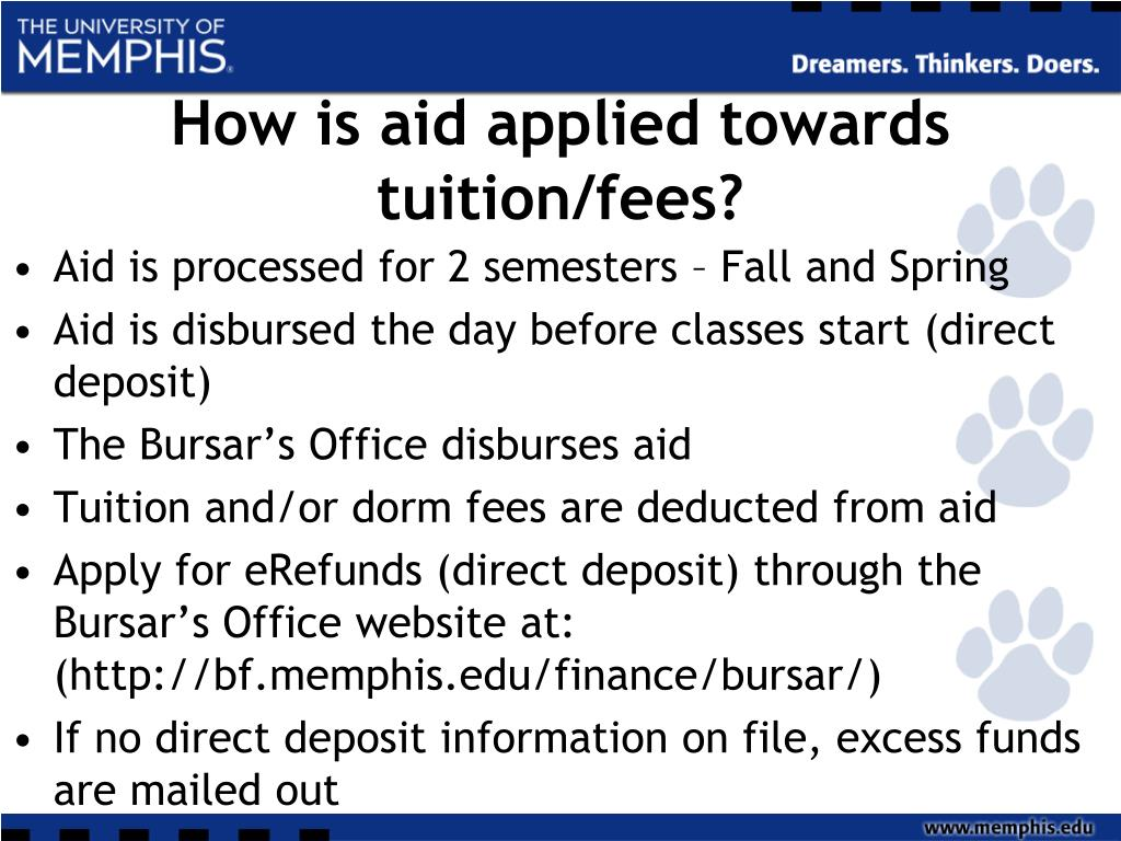 How is aid applied towards tuition/fees?
