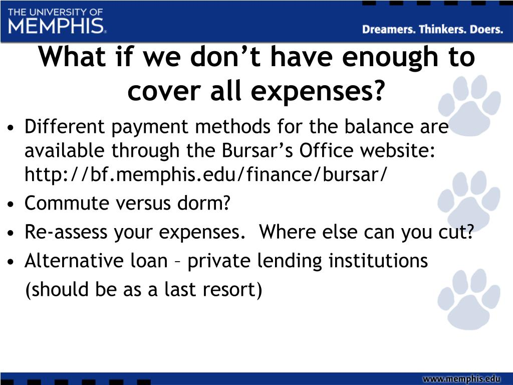 What if we don't have enough to cover all expenses?