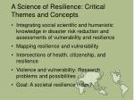 a science of resilience critical themes and concepts