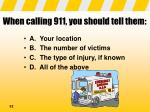 when calling 911 you should tell them