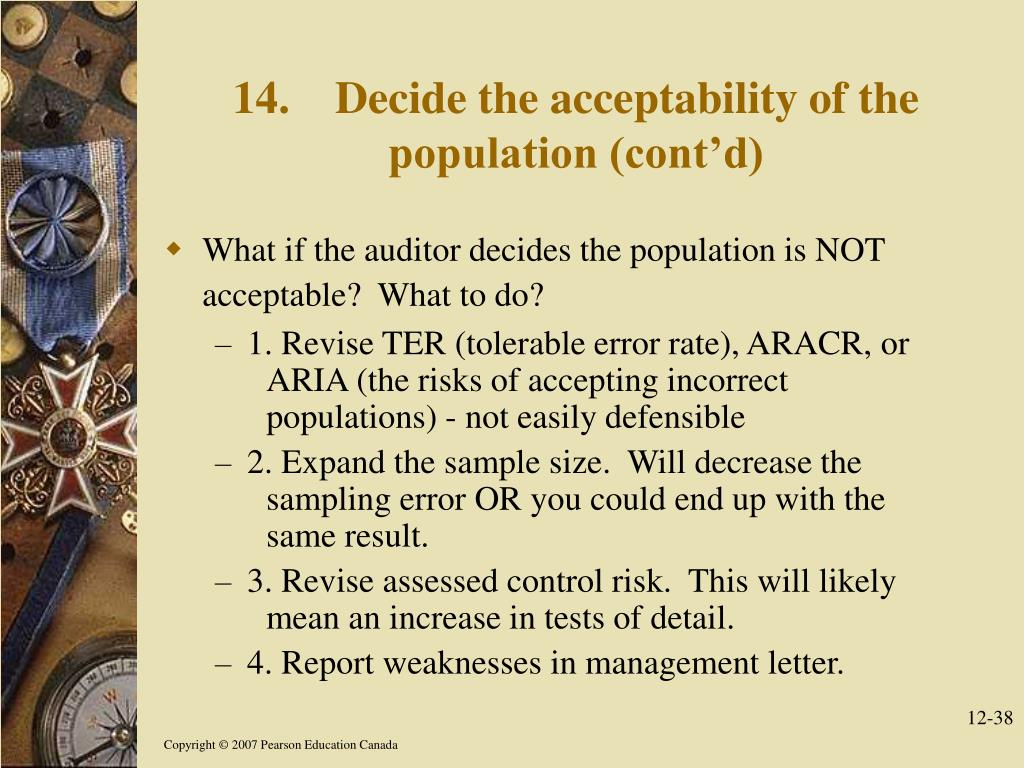 14.Decide the acceptability of the population (cont'd)