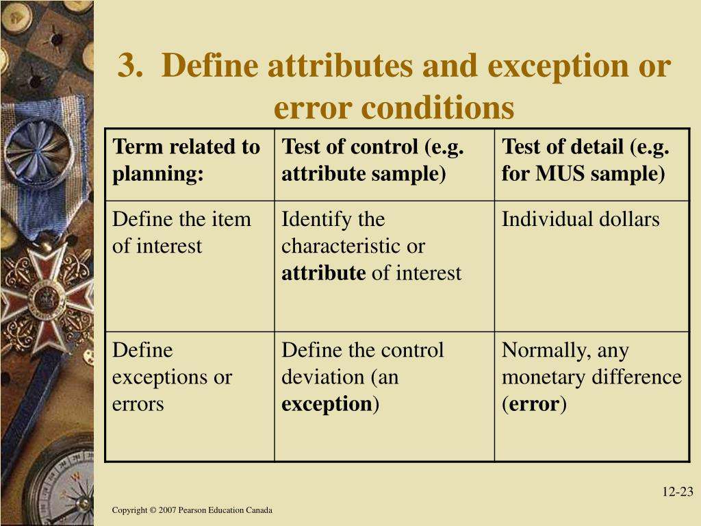 3.  Define attributes and exception or error conditions