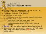 mla citation workshop citing resources in mla format