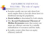 equilibrium and social welfare the role of equity
