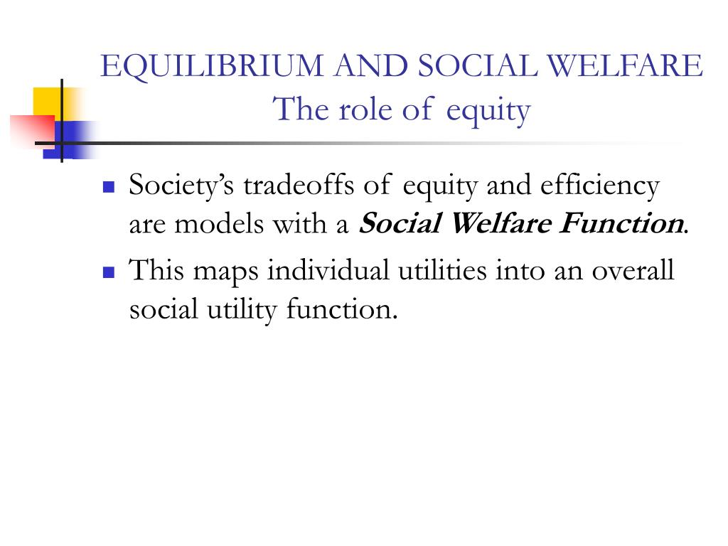 EQUILIBRIUM AND SOCIAL WELFARE