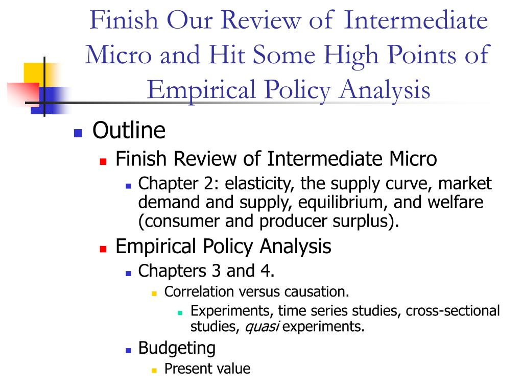 finish our review of intermediate micro and hit some high points of empirical policy analysis l.