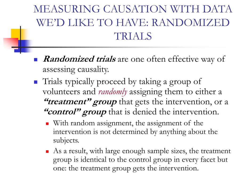 MEASURING CAUSATION WITH DATA WE'D LIKE TO HAVE: RANDOMIZED TRIALS