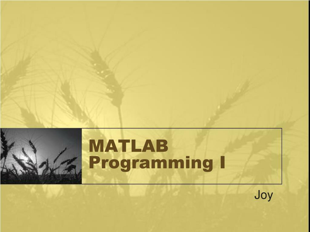 matlab programming i l.