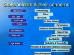 stakeholders their concerns