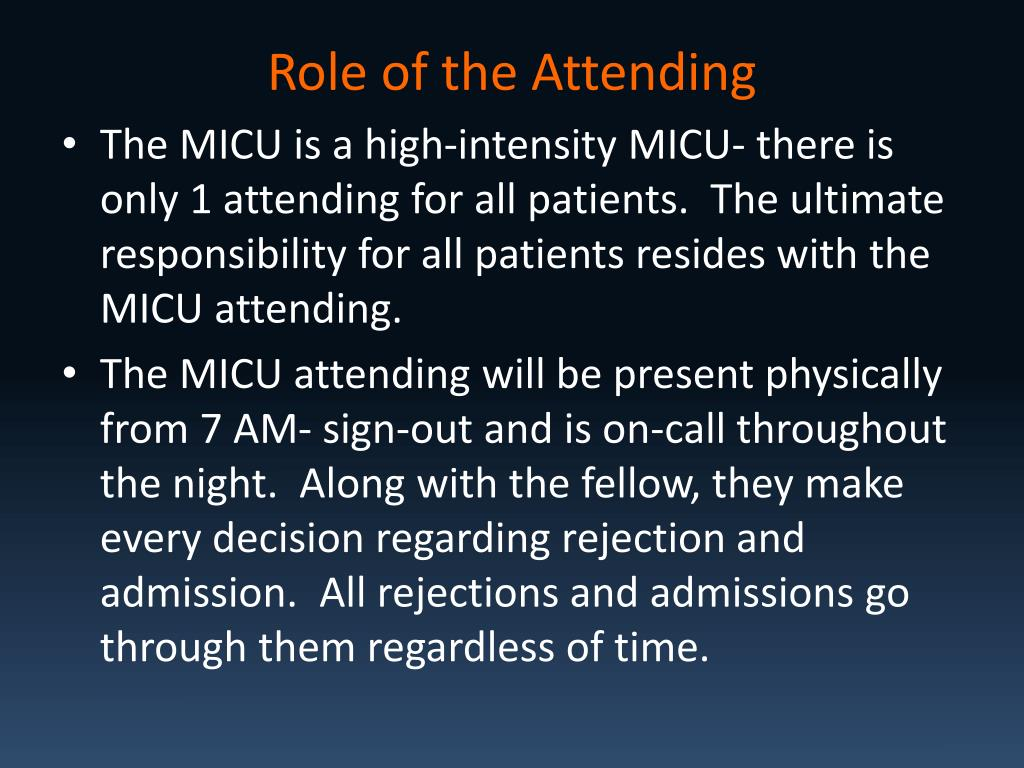 Role of the Attending