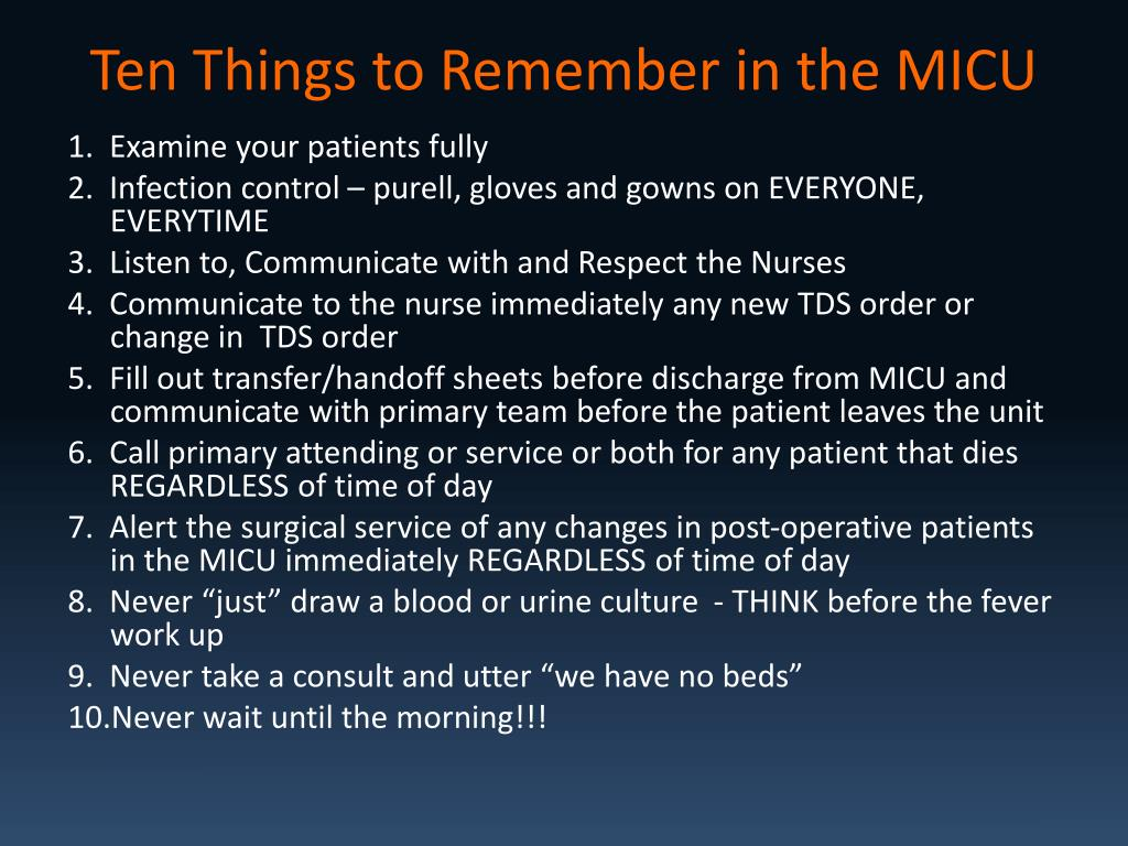 Ten Things to Remember in the MICU